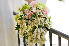 Spring garden bouquet of Roses, Chinese Snow-ball, and Dogwood blossoms and Pieris....   http://fb.com/tulipinadesign