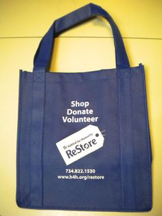 Stop by the ReStore Warehouse or Storefront to pick up your ReStore ReUsable shopping bag, now for   only $1 each. Save the planet and shop in style!     Available at the ReStore Warehouse and Storefront.
