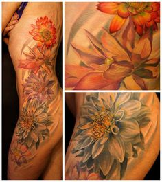 Hip/rib #tattoo. #flowers  More added on