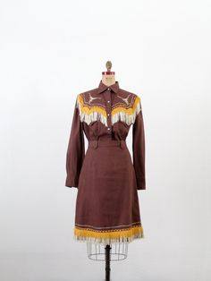 Vintage Western Skirt and Top / 1950s Rodeo Outfit. $300.00, via Etsy.