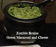 Prepare some spooky recipes like this Zombie Brains Halloween Recipe, super yummy Green Macaroni and Cheese.
