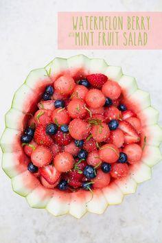 Mint Watermelon Berry Fruit Salad via MomAdvice.com