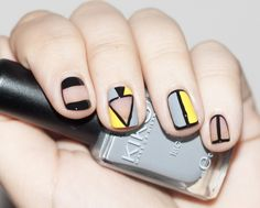 Black outlines add structure to the dove gray and pastel yellow accents.