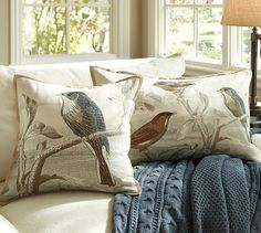Sky Bird Embroidered Pillow Covers #potterybarn