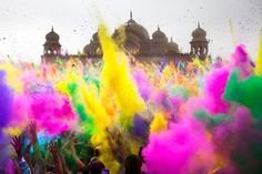Thousands throw colored powder in sequence every 2 hours during the Holi Festival of Colors, on Saturday, Mar. 24, 2012, at the Lotus Temple, in Spanish Fork, Utah. Photo by Benjamin B. Morris.