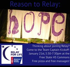 Learn about and Join Relay for Life 2014 at our Kickoff Tues, Jan 21st! At Free State HS Commons.