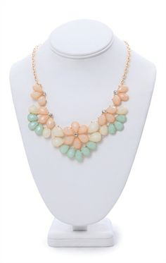 Deb Shops #Statement #Necklace with Flower Stone Design $9.03