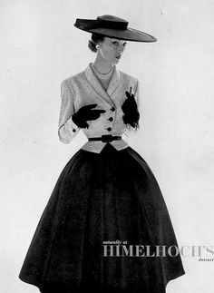 1952 Jean Patchett in charming ensemble by Adele Simpson, Vogue