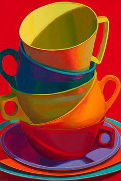 Coffee..Marian Dioguardi cupcak, coffee break, coffee cups, marian dioguardi, coffee art, rainbow, bold colors, teacup, bright colors