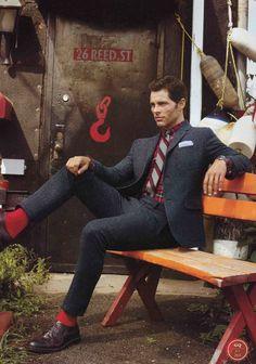 red, style, james marsden, socks, club monaco, men fashion, tweed, suits, jame marsden