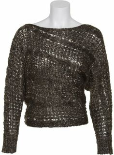 JESSICA SIMPSON Strings Gold Lurex Asymmetrical Sweater