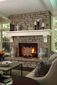 Mantel   Home   Design   Decor   Style   Fireplace  Love love, detressed over white painted brick...oh yea