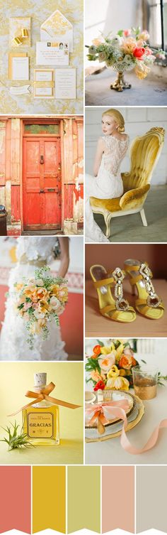 coral lemon yellow wedding colour palette - bright, sunny, happy!
