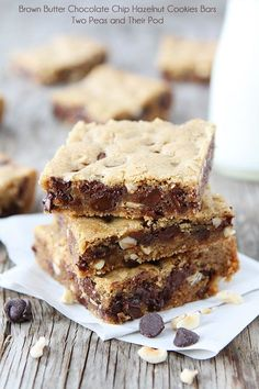 Brown Butter Chocolate Chip Hazelnut Cookie Bar Recipe on twopeasandtheirpod.com These bars are AMAZING!