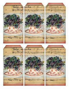"""""""My Cup of Tea"""" gift tags ~ combination of French sheet music & a pretty teacup overflowing with purple pansies :)"""