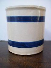 "Roseville Crock Blue Stripe 5"" R.R.P. Co. # 303-E Made In USA"