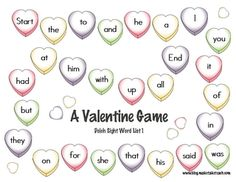 Classroom Freebies: Valentine's Day Sight Word Game Boards