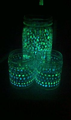 Mason jars with glow in the dark paint. Birthday present for my girlfriend. She loved them.