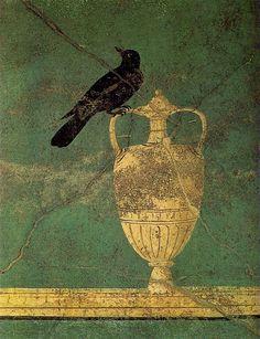 """Anónimo Roman Fresco  --  """"A Rook""""  --   Pompeii"""