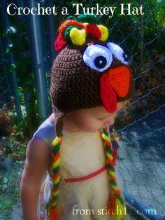 Gobble Gobble turkey hat, crochet hat, thanksgiving turkey, gobbl gobbl, free crochet, toddler turkey, hat patterns, crochet patterns, yarn