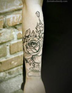 pretti flower, tattoo artists, rose tattoos, pretty flower tattoos, flower gir, gir tattoo