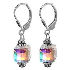 SCER013 Sterling Silver Crystal Designer Earrings Made with Swarovski Elements $17.99