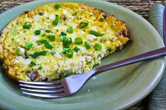 Un-Scrambled Eggs (Mini-Frittata) with Bacon, Green Onions, and Feta; this is one of my favorite quick breakfasts if I'm having a splurge for bacon, and it only takes the tiniest bit of bacon to make this taste amazing. [from Kalyn's Kitchen] #LowCarb  #GlutenFree  #SouthBeachDiet