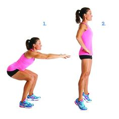 Moves That Target Cellulite: Squat With Calf Raise - Stand with feet hip-width apart. Bend at the knees and hips to lower down until thighs are parallel to the floor. Stand up, then lift your heels and shift weight onto the balls of your feet. Lower your heels to return to starting position. Do 15 reps.
