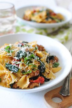 Creamy bow tie pasta with sausage.