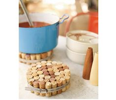 Use your old Sutter Home wine corks to make hot pads for the kitchen!