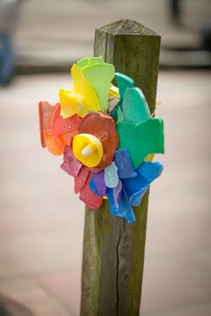 1065BAAM14-5480  - recycled found plastic used to make flower