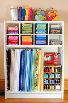 Fabric organization in craft room with foam core bolts