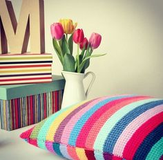 stripped crochet cushion