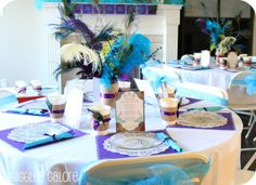 pincess peacok table scape b-day party
