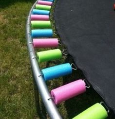Cool idea to protect you kiddies from trampoline springs. Cut up pool noodles and slide them on.