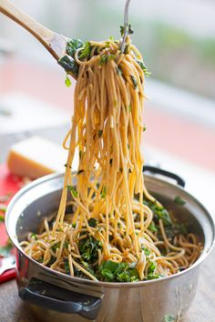Garlic Butter Spaghetti with Spinach and Herbs....use rice or GF noodles