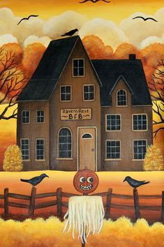 Halloween Folk Art Hand Painted  14 inch by 18 inch by Ravensbend, $38.00