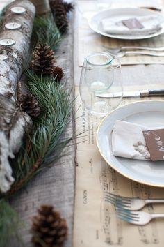 christmas dinners, christmas table decorations, table settings, rustic tablescap, christmas tablescape, christma tablescap, sheet music, places, rustic christmas