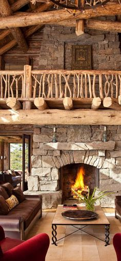 Beautiful rustic houses, living rooms, logs, log cabins, loft, balconi, national parks, dream houses, stone fireplaces