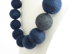 Navy Blue and Grey Felt Necklace - Midnight Blu... - Folksy