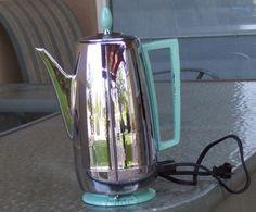 Vintage Percolator Percolating Presto Automatic Coffee Maker Pot Aqua Chrome | coffe pot, coffe maker, vintag coffe, automat coffe