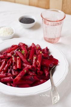 Penne With Beetroot Cream And Toasted Poppy Seeds