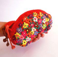 crochet embroidery purse