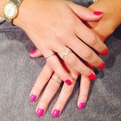 orange + pink no chip mani