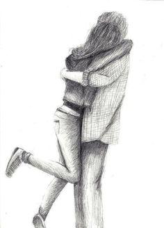 cute, love, sweet, sketch, drawing, couple, hug