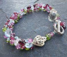 Gemstone bracelet sterling silver pink by seafairiesjewelbox, $242.00