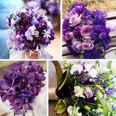 wedding bouquets, weddings, purple flowers, lilac wedding, purple wedding flowers, flower ideas, blue bouquets, bridesmaid bouquets, purple bouquets