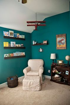 Vintage Airplane Nursery-Wow the color