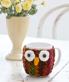 What a hoot! Dress up a mug with this crocheted cozy—you'll feel all the wiser using it to sip your warm beverages. Makes a great gift for friends, teachers, Dads and all ages!