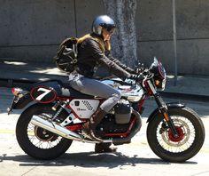 Guzzi V7 Racer on Sunset Blvd, LA ride, cowgirls, guzzi, biker girl, steel cowgirl, motorcycl girl, real motorcycl, women motorcyclist, cafe racers